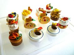miniature cakes set (12 pcs.)  handmade in paper quilling, original, miniature food, doll house, gift, new, kawaii, cute