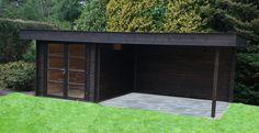 TuinTotaalCenter Zwolle - Modernvarioflex MJ 28 250x250+420x270 MA D D Moderne Tuinhuizen en Blokhutten met plat dak en luifel | Blokhutten, Tuinhuizen, Garages