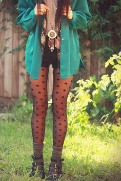 Grey tee, black shorts, polka dot tights, boots, and aqua cardigan.