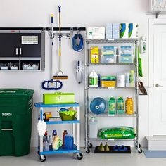 garage organization - chrome shelving unit for storing bulk supplies and mobile car-cleaning station