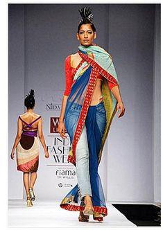 sari with pants   Jeans and Saree- Designer Nida Mahmood