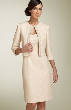 Mother of Bride - Tahari by Arthur S. Levine Metallic Jacquard Jacket & Dress available at #Nordstrom