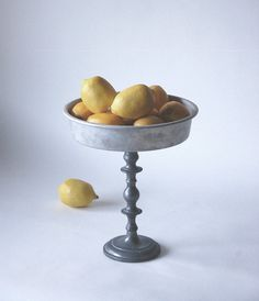 Repurposed cake pan becomes: GORDON Farmhouse Metal Pedestal by bloomingtwigstudio