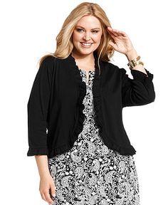 Charter Club Plus Size Cardigan, Three-Quarter-Sleeve Ruffle - Plus Size Sweaters - Plus Sizes - Macys