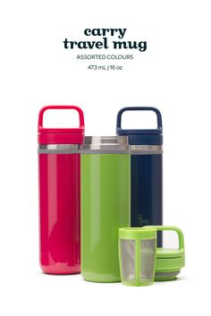 A sleek, modern, 100% leakproof travel mug with a built in infuser.
