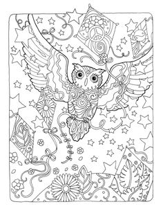 "Creative Haven Owls Coloring Book by Marjorie Sarnat, ""Kite Flying"""