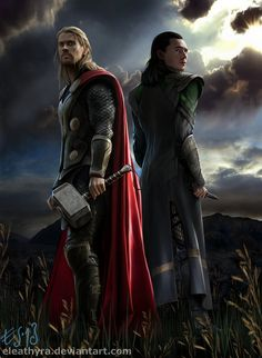 Thor and Loki as in the Marvel movies. I'm running out of titles... This Picture is made in GIMP as usual. About... 30-40 hours, I kind of lost count. I stole the pattern on Mjølnir from a plastic ...