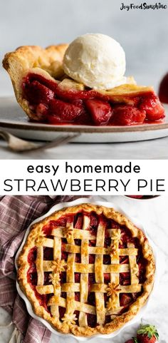 Easy, fresh Strawberry Pie from Scratch! This fresh, made-from-scratch strawberry pie recipe is low in sugar so the natural flavor and sweetness of the strawberries really shine! A delicious summer pie to bring to a potluck or BBQ!
