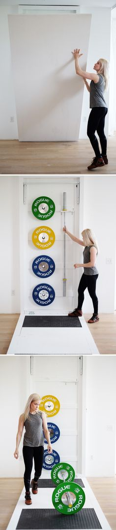 Make a home gym you can easily fold away into the wall. Click the link for the full instructions + material list: http://www.homemade-modern.com/ep113-diy-fold-out-gym/