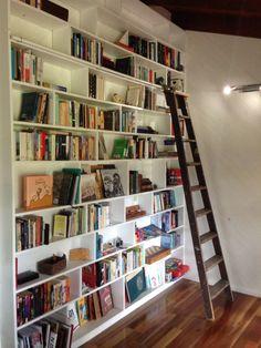 Bookshelf wall. Home library.