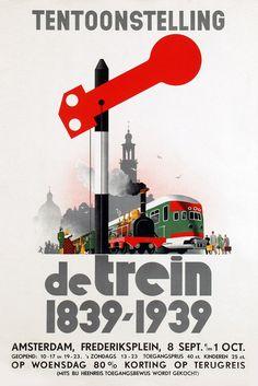 Affiche tentoonstelling De Trein, 1939 | Ontwerp Jan Wijga, collectie Arjan den Boer (foto: Van Sabben Auctions)