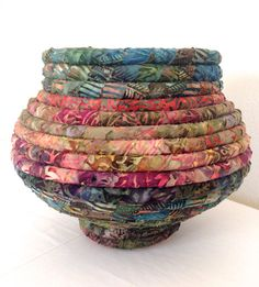 Batik Fabric Coiled Basket Pot by JustJenniferB on Etsy