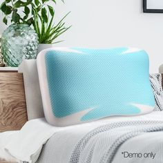 The pillow features a dense volume of cubed to provide support for both your head and neck. Additionally, the blue cool gel layer draws heat away for better comfort. Foam Pillows, Bed Pillows, Head And Neck, New Product, Memory Foam, Pillow Cases, Memories, Cool Stuff, Blue