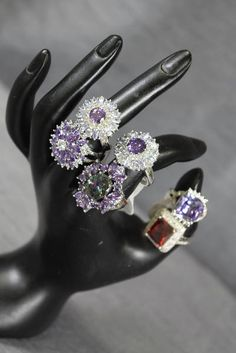 Fancy, Fun, and Blingy 925 Sterling Silver Cocktail Rings with Various Coloured Rhinestones - Ranging From Size 7 to 9 - Priced Individually Cocktail Rings, Rhinestones, Jewerly, Fancy, Purses, Sterling Silver, Accessories, Color, Handbags