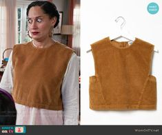 Rainbow's corduroy crop top on Black-ish.  Outfit Details: https://wornontv.net/57180/ #Blackish