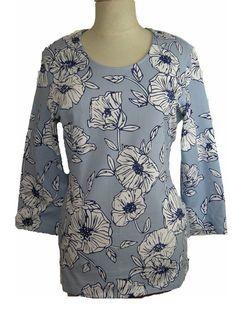 T-shirt Gerry Weber Summer Breeze 3/4 mouw blauw licht blauw print