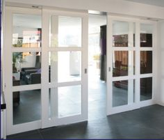 or sliders slide past fixed side panels Glass Room Divider, Room Divider Doors, Home Room Design, Home Interior Design, House Design, Internal Sliding Doors, Interior Windows, Mid Century House, House Rooms