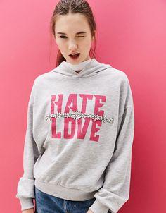 Hooded sweatshirt with gem and text - New - Bershka Denmark