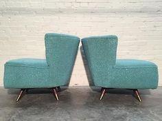MCM Swivel Barrel Chairs.