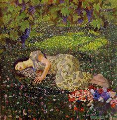 turnofthecentury:  Felice Casorati ~ Dreaming Of Pomegranates 1912