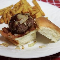 """Barbeque Bacon Sliders   """"I made these quickly and they came out great."""" #recipe #football"""