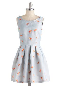 Good As Goldfish Dress by Nishe - International Designer, Mid-length, Blue, Orange, Print with Animals, Embroidery, Pleats, Party, Fit & Fla...