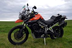 Triumph Tiger 800xc with Rally Raid Products Rear Tank, Soft Luggage Racks, Steering Damper, Foot Pegs, Billet Brake Lever , Engine Guard fitted