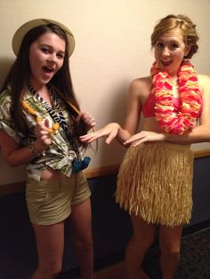 Hula girl and tour guide college halloween costume