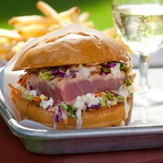 Burger (seared Ahi tuna burger topped with ginger-wasabi mayonnaise ...