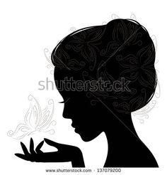 Stock Vector By Sivanova Woman Face Silhouette, Silhouette Clip Art, Free Silhouette, Silhouette Images, Profile Drawing, Face Profile, Profile Woman, Foto 3d, Beautiful Girl Makeup