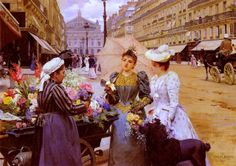 It's About Time: Flower Sellers by Louis Marie de Schryver French artist, 1862-1942