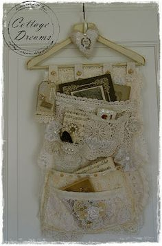 "From ""Cottage Dreams"" blog, a wonderfully romantic display piece created with old lace and other remnants."