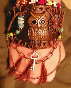 GENUINE LEATHER ANTIQUE OWL GLASS BEAD CHAIN snap bracelet cuff  1.99 ship #SEPHORAEDEPP