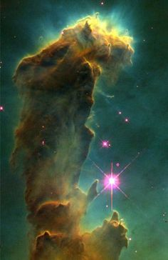 ۞✄…… Gas pillar in the Eagle Nebula (© NASA, ESA, STScI, J. Hester and P. Scowen (Arizona State University) #universe