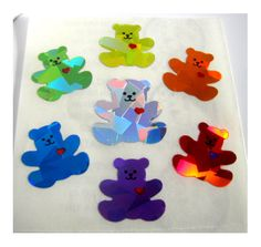Vintage Rainbow Heart Bears Prism Stickers 80's