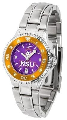 Northwestern Demons Women's Stainless Steel Dress Watch by SunTime. $88.95. Links Make Watch Adjustable. Stainless Steel. Women. Water Resistan. Officially Licensed Northwestern State Demons Women's Stainless Steel Dress Watch. Northwestern Demons Women's stainless steel watch. This Demons dress watch with rotating bezel color-coordinated to compliment your favorite team logo. The Competitor Steel utilizes an attractive stainless steel band. Perfect for any occasion, wh...