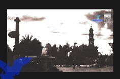 Fotografía de la plaza principal como se le llamaba con anterioridad, se aprecia uno de los Leones que se ubicaban en la calle Madero, y al fondo la catedral Basílica con una de sus torres toda vía, y la exceda. (foto AGM)