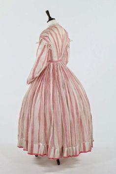 "ephemeral-elegance:  ""Striped Muslin Dress with Pleated Bodice, ca. 1864  """