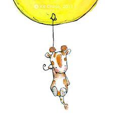 I love Etsy..   (Nursery Art Print Soaring a baby giraffe and a yellow balloon  5x7. $10.00, via Etsy.)
