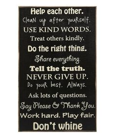 Take a look at this 'Words to Live By' Sign by Collins on #zulily today!