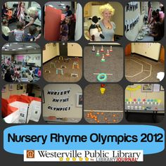 Nursery Rhyme Olympics Nursery Rhyme inspiration to find the athlete in your toddler amazing! School Library Lessons, Kids Library, Library Ideas, Nursery Rhymes Preschool, Nursery Rhyme Theme, Rhyming Activities, Library Activities, Literacy Day, Early Literacy