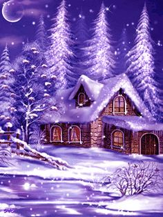 Frohe Festtage an alle! Christmas Scenery, Winter Scenery, Purple Christmas, Elegant Christmas, Vintage Christmas Cards, Christmas Pictures, Christmas Art, Beautiful Christmas, Winter Christmas