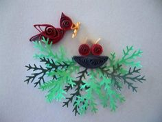Cardinal Feeding Babies - Quilled Creations Quilling Gallery