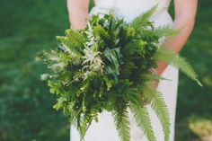 We love this fern bouquet! So many different variety of ferns and leaves, punctuated by some white astilbe flowers and poppy flower pods. It's perfect for a rustic or woodland-style wedding. Fern Wedding, Woodland Wedding, Floral Wedding, Wedding Flowers, Wedding Greenery, Bride Bouquets, Bridesmaid Bouquet, Floral Bouquets, Bridesmaids