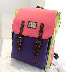 stacy bag hot sale women backpack girl color block preppy style student school bag ladies travel backpack female casual bag $9.00