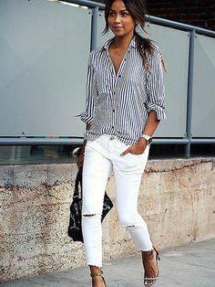 Chicnico Simple Navy Long Sleeve Stripe Shirt