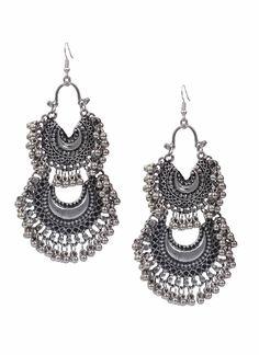 b06854749 Two Steps Chandbali Designer German Silver Jhumkas Product code: JUJA90J193 Retail  price: 442/