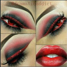 red smokey eye with red glitter liner & vampy red lips~! Products used: On the eyes eyeshadow (audrey) Cosmetics Cosmetics Cosmetics Cosmetics Cosmetics eyeshadow (love+) glitter (cherry bomb) red cherry lashes Gothic Makeup, Sexy Makeup, Fantasy Makeup, Beauty Makeup, Makeup Looks, Hair Makeup, Maquillage Halloween, Halloween Face Makeup, Costume Contact Lenses