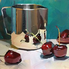 """Daily Paintworks - """"Bashful Introduction"""" - Original Fine Art for Sale - © Teddi Parker Fruit Painting, Painting On Wood, Gouache Painting, Academic Drawing, Still Life Art, Pretty Art, Anime Comics, Art Sketchbook, Aesthetic Art"""