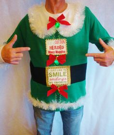 elf ugly christmas sweater light up buddy by taborstreasures - Unique Christmas Sweaters